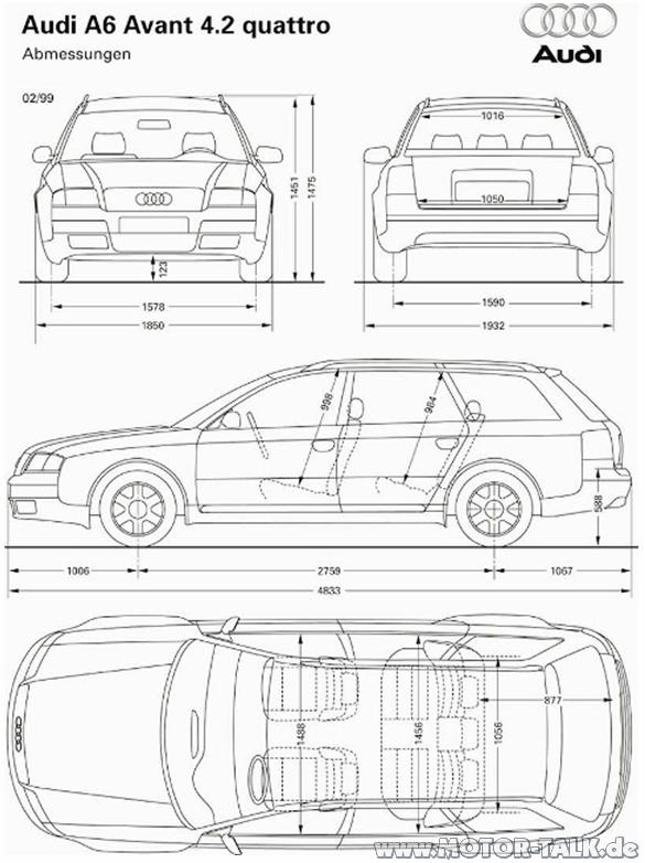 Abmessungen V8 Fahrzeugbreite Audi A6 4b 204276434