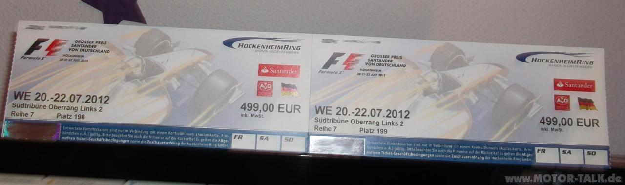 hockenheim verkaufe 2 tickets f1 hockenheim 2012. Black Bedroom Furniture Sets. Home Design Ideas