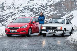 Geradezu zierlich wirkt der Opel Kadett D gegen den Opel Astra K