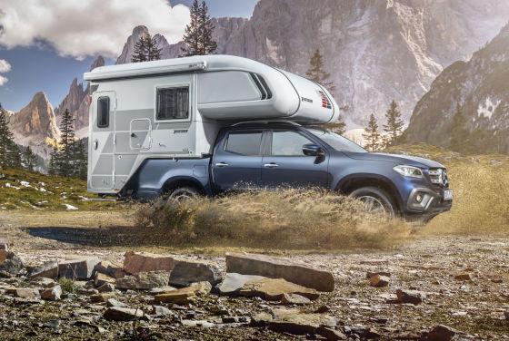 mercedes x klasse 2017 pick up mit campingaufbau. Black Bedroom Furniture Sets. Home Design Ideas