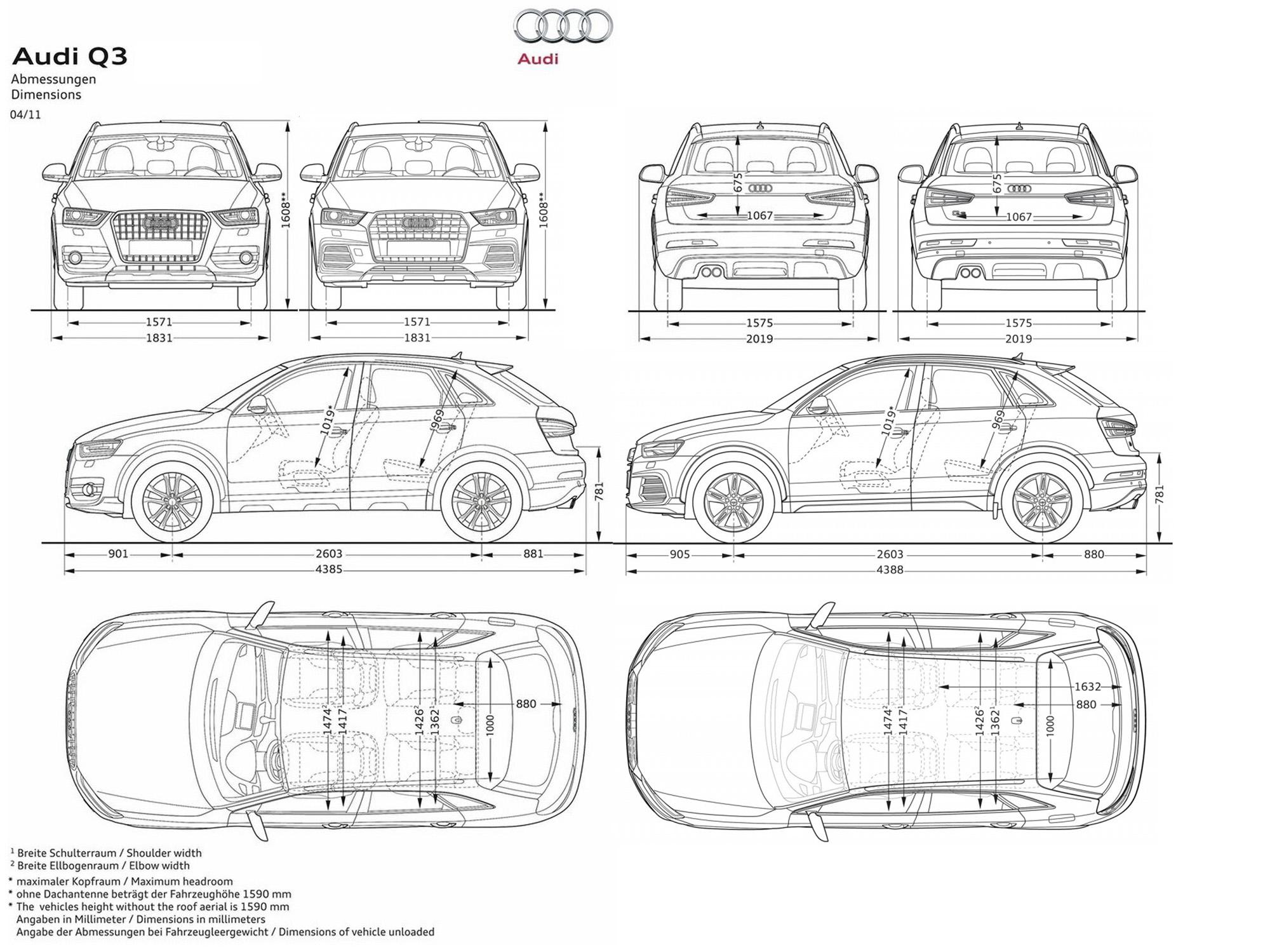 Abmessungen Q3 Facelift Q3 Facelift Audi Q3 207639699