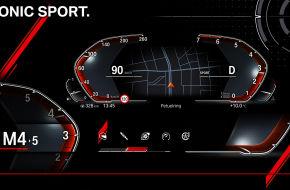 Ein digitaler Tacho, wie er künftig in BMW-Modellen verbaut sein könnte: Gang und Drehzahl lassen sich vergrößert darstellen