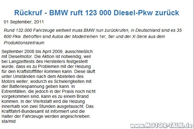 rueckruf bmw bmw r ckrufaktion dieselautos. Black Bedroom Furniture Sets. Home Design Ideas